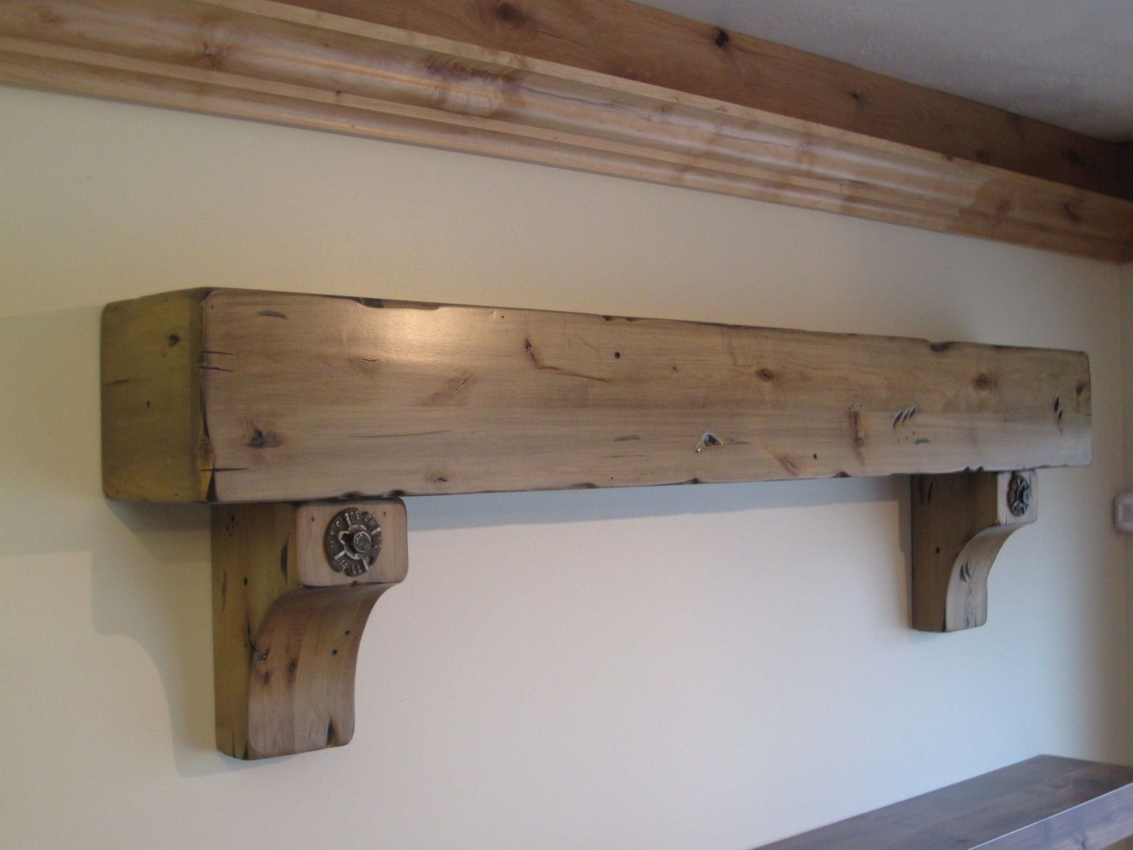 Buy A Hand Crafted Knotty Alder Fireplace Beam Mantel Rustic Distressed Antique Bolts Salvaged Timber Made To Order From Iguana Art Design