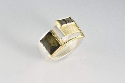 Custom Made Tourmaline, Gold And Industrial Diamond Ring