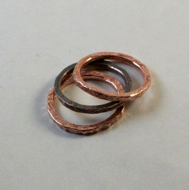 Custom Made Stackable Copper Rings In Set Of 3