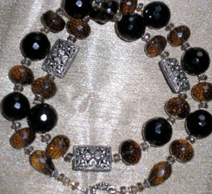 Custom Made Sterling Silver Filigree With Black Onyx And Smoky Quartz Necklace