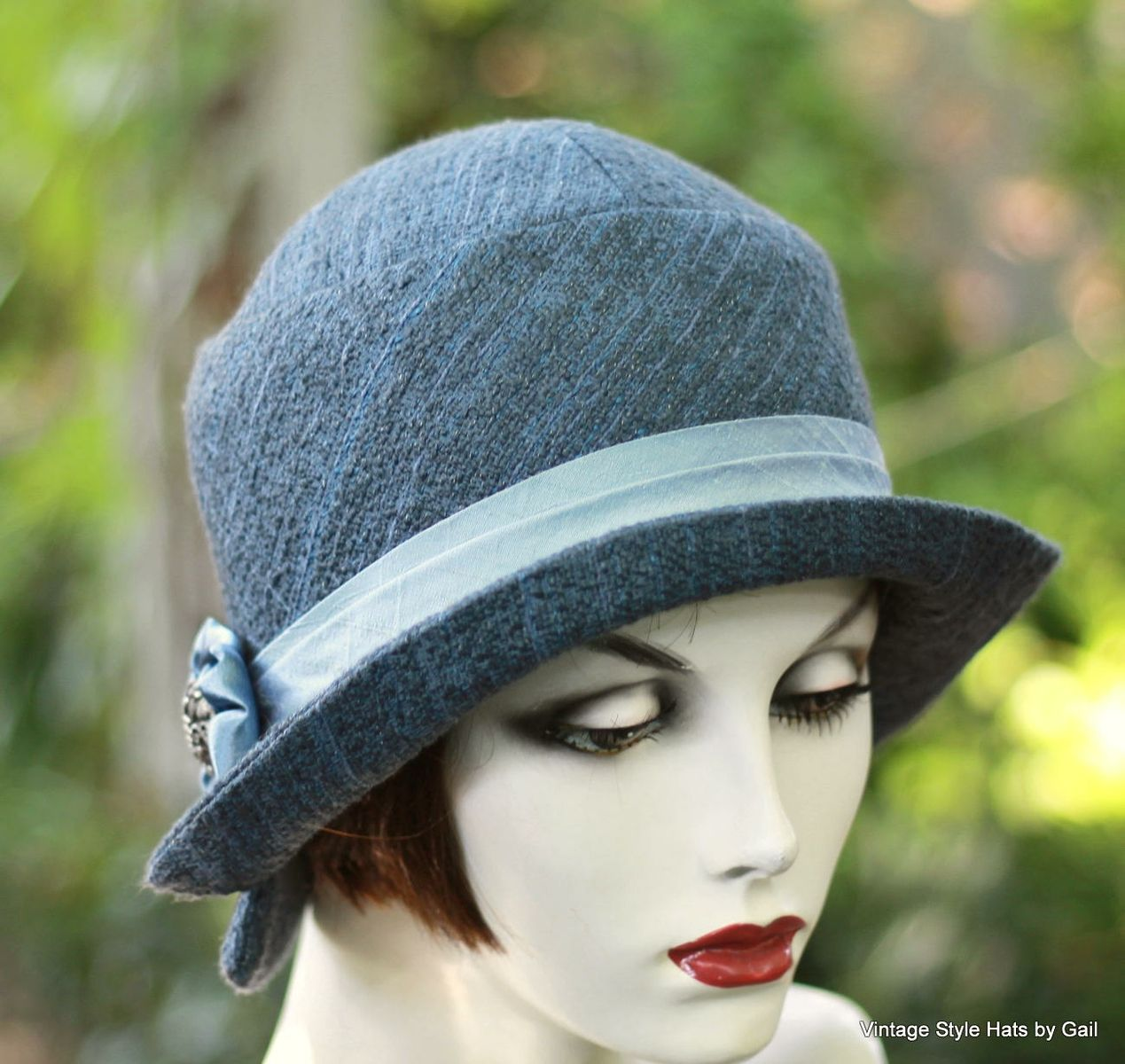 Custom Made Womens Hat In A Cloche 1920 S Vintage Great Gatsby Style Steel  Blue 4ecdd851a2