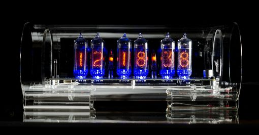 Custom Made Glass Nixie Clock In-14 Standard Grid Model With Blue Led Tube Lights