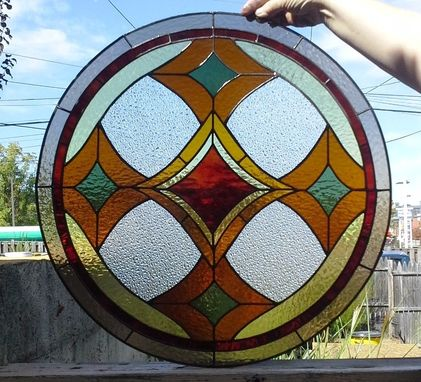 "Custom Made Stained Glass Window - ""Warm Colors"" (W-64)"