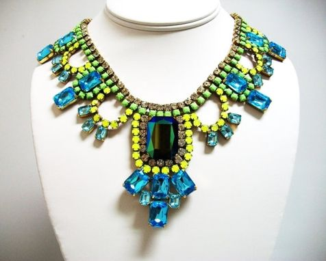 Custom Made Bib Necklace With Hand-Painted Rhinestones