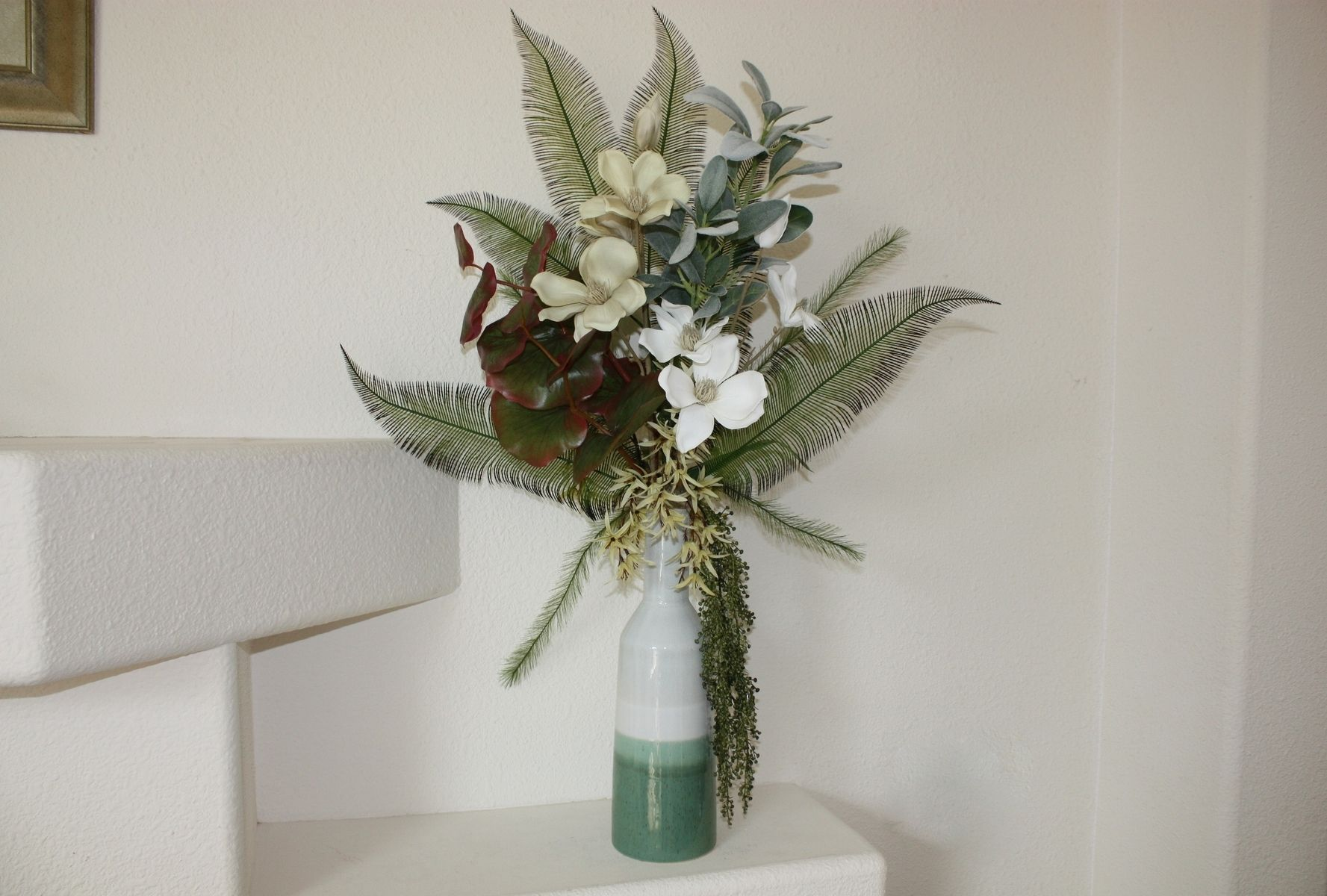 Handmade Tropical Decor Large Silk Flower Arrangement Floral Home