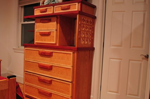 Custom Made Dresser With Stacked Drawers And Sculptural Side.