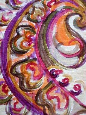 "Custom Made Ethnic Abstract Paisley Painting 8""X8"" Paisley Design Magenta Ochre Green"