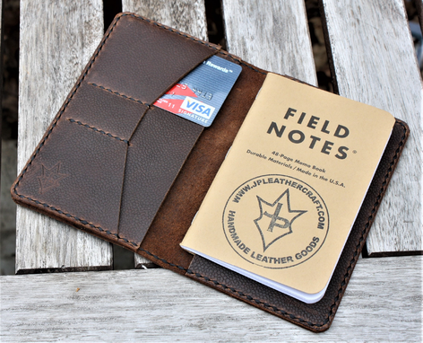 Custom Made Handmade Cover For Field Notes Card Wallet Scribo Horween Leather Football Brown