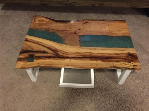 Custom Made Coffee Table,Live Edge Inlay,Steel Base,Wood Table,Natural Wood,Living Room,Office,Furniture