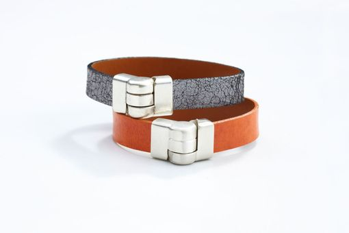 Custom Made Genuine Leather Wristband Bracelet In Cracked Silver