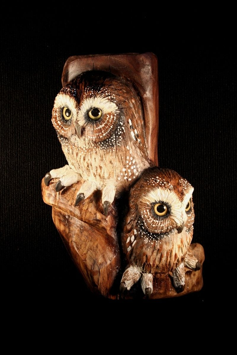 Custom made wood carving owl wall art by donna maries