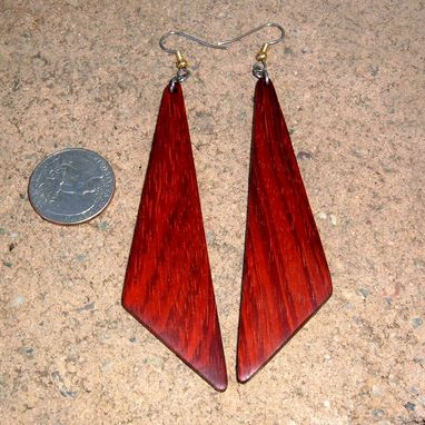 Custom Made Wood Earrings Of Rosewood, Very Lightweight..L004