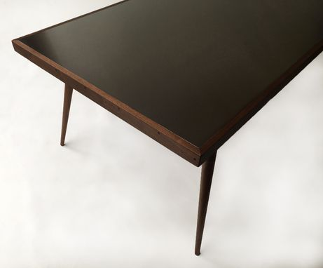 Custom Made Contemporary Modern Stainless Steel Conference Table With Walnut Tapered Legs