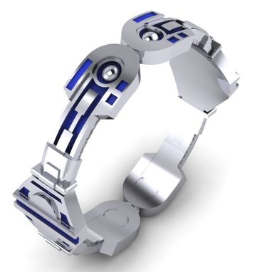 Custom Made Big Droid Bracelet Blue And Silver Bangle