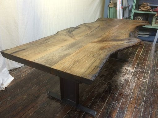 Custom Made Reclaimed Live Edge Maple Slab Conference Table With Factory Legs
