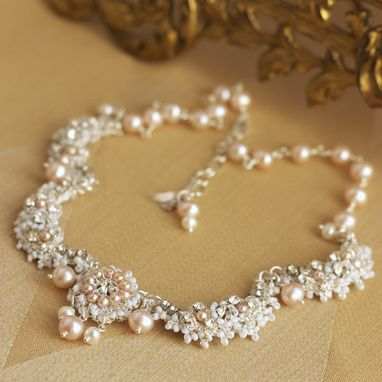Custom Made Garland Of Roses Necklace | Silver Lace Bridal Collar With Pink Pearls