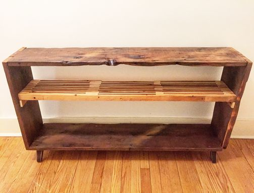 "Custom Made ""Dead Edge"" Reclaimed Media Console W/ Slatted Shelf"