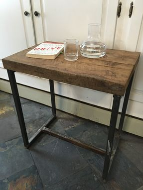 Custom Made Reclaimed Wood And Iron End Table