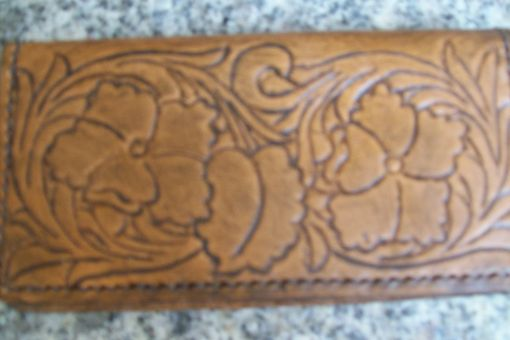 Custom Made Custom Leather Checkbook Cover With Double Flower Sheridan Design