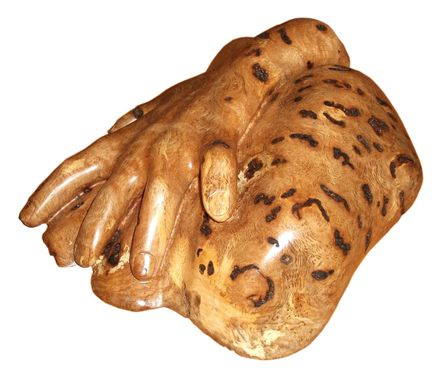 Custom Made Helping Hand, Oak Burl Sculpture