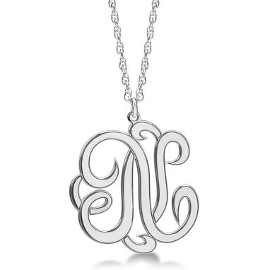 Custom Made Personalized Single Initial Cursive Monogram Necklace