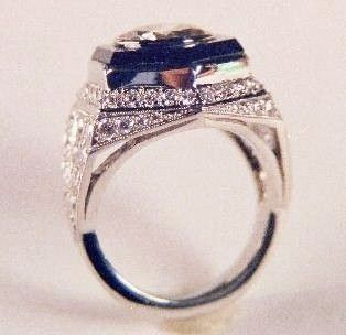 Custom Made Hexagon Onyx And Diamond Ring