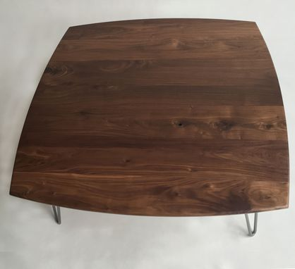 Custom Made Solid Walnut Cocktail Table - 44 X 44 Square Mid Century Modern Coffee Table With Hairpin Legs