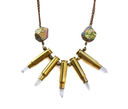 Custom Made Bullet & Titanium Quartz Collar Necklace With Five Bullet Shells On Copper Chain