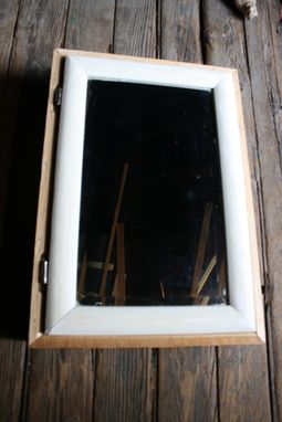 Custom Made Medicine Cabinet Made From Reclaimed Mushroom Board And Old Beveled Mirror