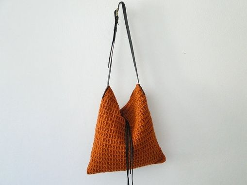 Custom Made Crochet Orange/Cream Handbag
