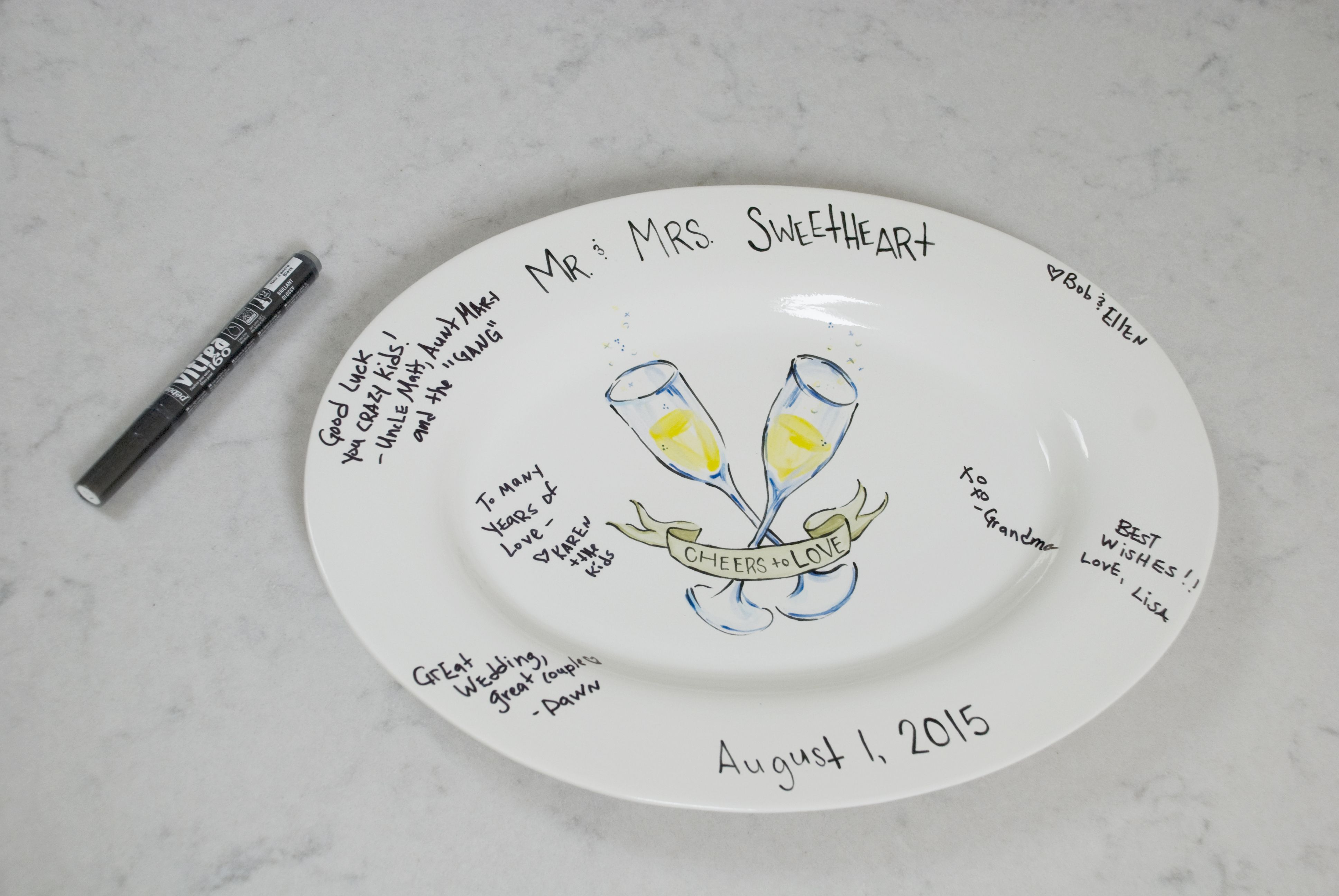 Wedding Shower Signature Plate Ceramic Oversized NIB