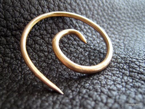 Custom Made Golden Galaxies Small Bronze Spiral Shawl Pin Screw Clasp