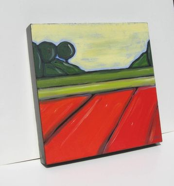 "Custom Made Art Abstract Landscape Painting Modern Contemporary Artwork ""Green And Orange Fields"""