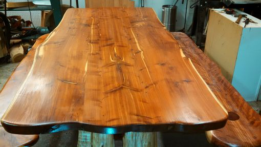 Custom Made Live Edge Cedar Dining Table And Benches