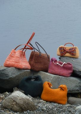 Custom Made Crayon Orange Felted Wool Bag With Matching Orange Leather Handles