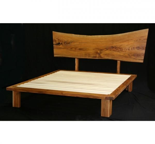 Custom Made Live Edge Teak Bed - Hand Crafted Live Edge Teak Bed By Paulus Fine Furniture