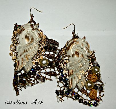 Custom Made Golden Pegasus Earrings - Ooak - Polymer Clay, Fabric, Sequins, Beads