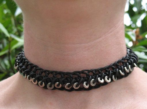 Custom Made Jewelry: Black Leather Braided Choker With Silver Beads