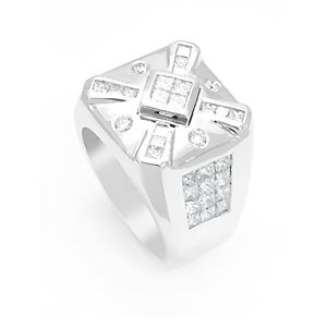 Custom Made Diamond Men's Ring In 14k White Gold, Princess Cut Diamond Ring, Men's Ring