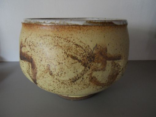 Custom Made Handthrown Stoneware Bowl With Brush Design