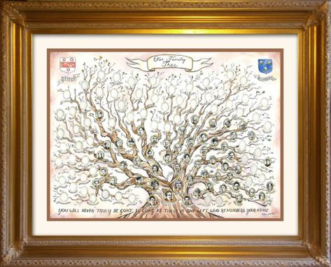 Custom Made Family Tree- Names Only | Custom Original Ink And Watercolor Painting Antique Heirloom
