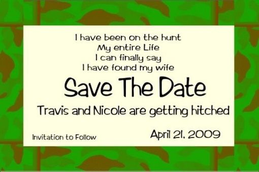 Custom Made Camo Border Save The Date- Fun And Casual
