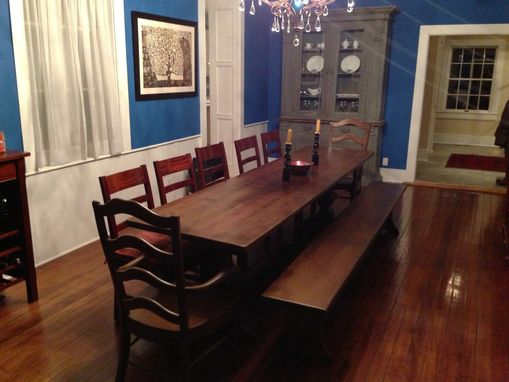 Custom Made Large Trestle Table From Salvaged Wood