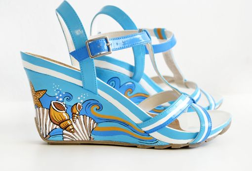 Custom Made Summer Wedding Shoes/Hand Painted Shoes / Hand Painted Wedge Shoes/ Summer Shoes/ Blue Wedges