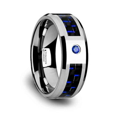 Custom Made Neptune Tungsten Carbide Ring With Black And Blue Carbon Fiber And Blue Diamond Setting