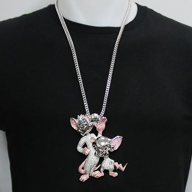 Custom Made Diamond Pinky And The Brain Pendant