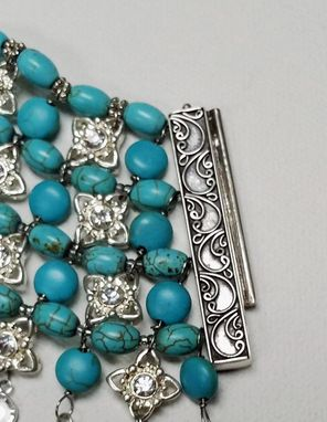 Custom Made Sterling Silver And Turquoise Choker Necklace