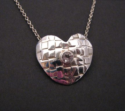 Custom Made Heart In Sterling Silver With 5mm Gemstone Center From The Anasazi Woven Collection