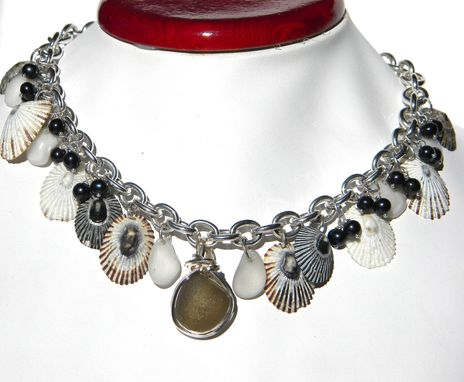 Custom Made Pearls And Sea Shells Necklace With Dark Champagne Sea Glass