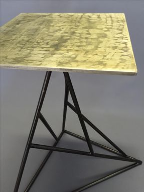 Custom Made Abstract Metal End Table W/ Blackened Steel
